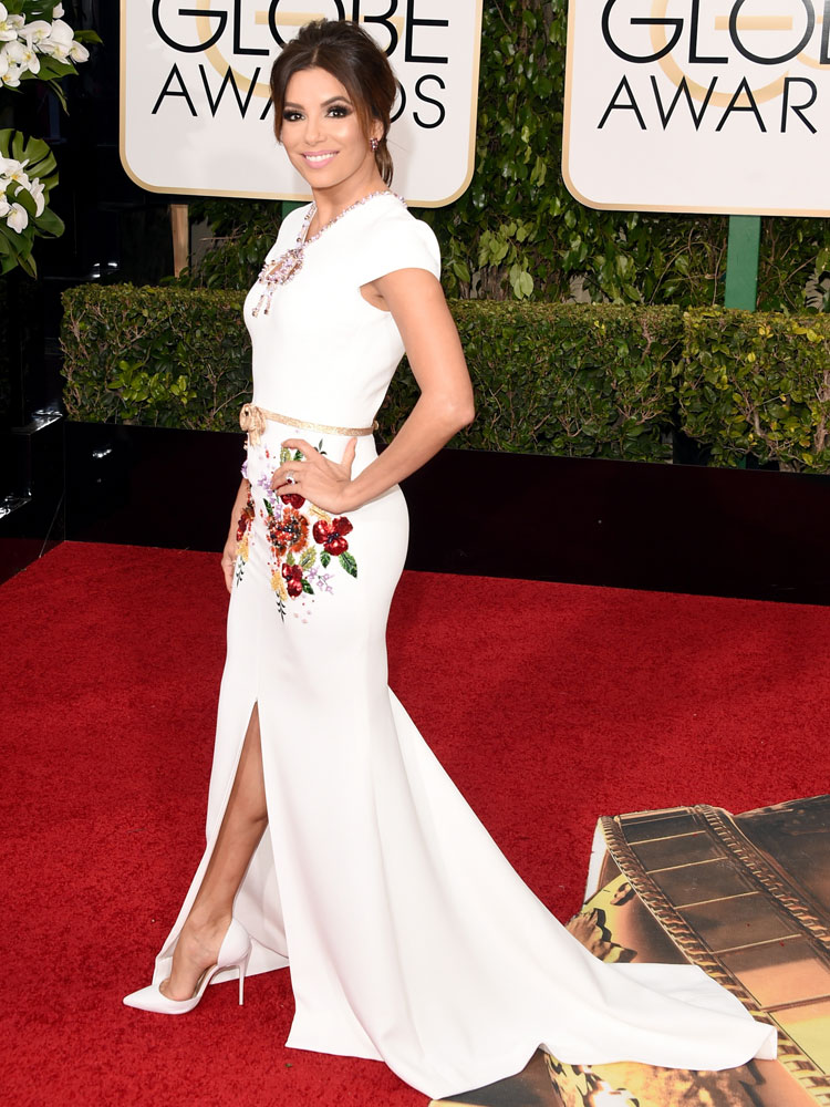 EVA LONGORIA ATTENDS THE GOLDEN GLOBE AWARDS WEARING GEORGES HOBEIKA
