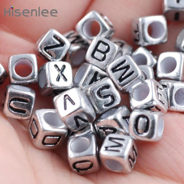 Hisenlee DIY Beads 200PCs 6MM Random Mixed Alphabet Beads Letter Antique Silver Acrylic Cube Beads For Making Bracelet Jewelry - thefashionique