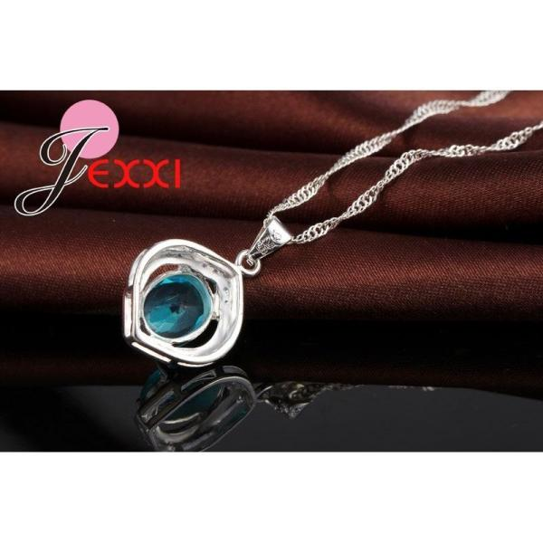JEXXI Classic 100% 925 Sterling Silver Top Grade AAA++ CZ Zircon Wedding Engagment Necklace+Hoop Earring Blue Jewelry Sets Gifts - thefashionique