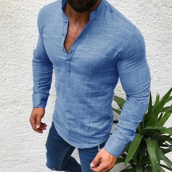 Men Cotton Linen Shirt Fashion Casual Long Sleeve Autumn Blouse Shirts Man Fit Half Open Shirt Muscle Man Slim Plus Size Blouse - thefashionique