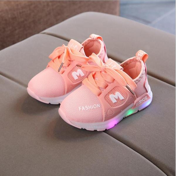 New Children Luminous Shoes Boys Girls Sport Running Shoes Baby Flashing Lights Fashion Sneakers Toddler Little Kid LED Sneakers - thefashionique