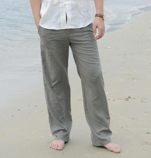 New Top Quality Men's Summer Casual Pants Natural Cotton Linen Trousers Linen Elastic Waist Straight Man's Loose Pants 5 Color - thefashionique
