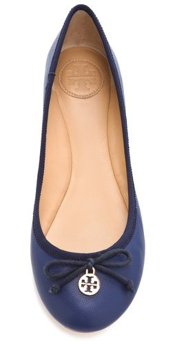 Chelsea Ballet Flats - Classic Tory Burch ballet flats are given all day wearablilty with a soft, padded footbed. A gleaming logo charm sits on the tie