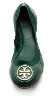 Tory Burch Emerald Caroline Elastic Ballet Flats