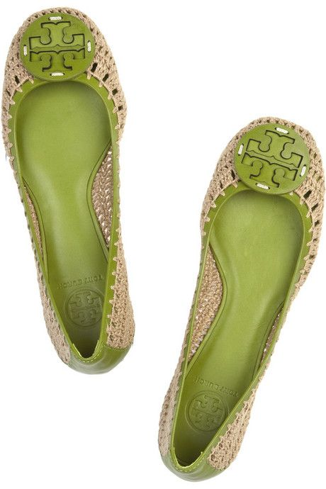 Tory Burch Rory leather and crochet flats