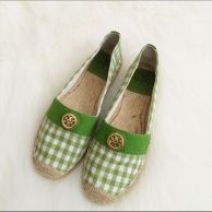 Tory Burch espadrille flat - Adorable green & white checkered print