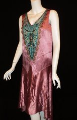 1920's dragonfly flapper party dress Bellasoiree Original design all antique trims and appliques - $715.09 CAD