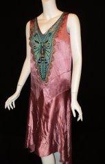 1920's dragonfly flapper party dress Bellasoiree Original design all antique trims and appliques - $715.09 CAD