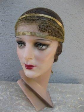1920s Flapper Art Deco Gold Lame Tulle Headband Headpiece Bandeau - $360.12