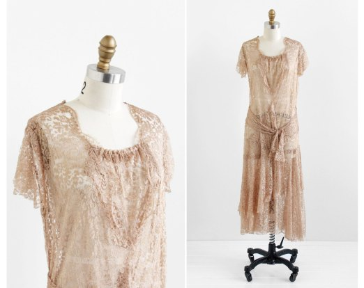 Champagne Silk Lace Flapper Dress - $436.26 CAD