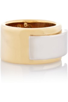 Saint Laurent Gold-plated Sterling Silver Plaque Ring