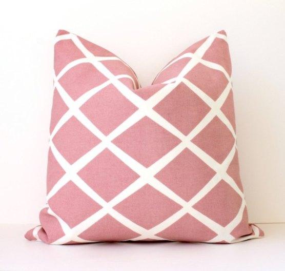 Pink & White Diamond Stripe Pillow