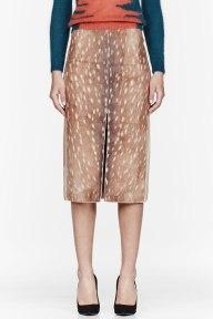 Carven Brown Woolen Fawn Print Skirt