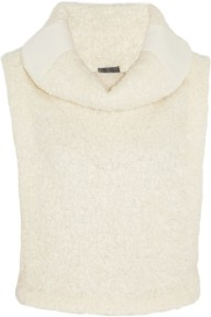 Maiyet Shearling-effect cowl-neck top