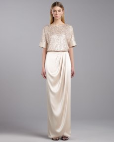 St John Collection Sequined Tulle Top Satin Wrap Maxi Skirt