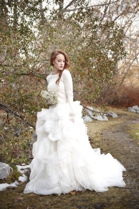 wedding gown with sweater