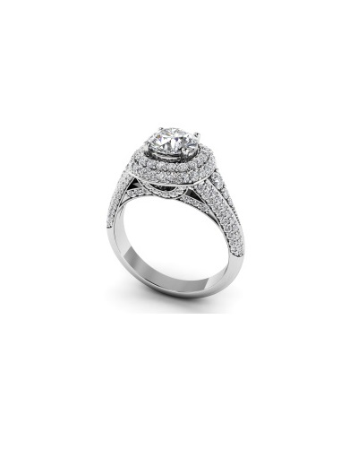 Anjolee Deluxe Double Halo Diamond Engagement Ring