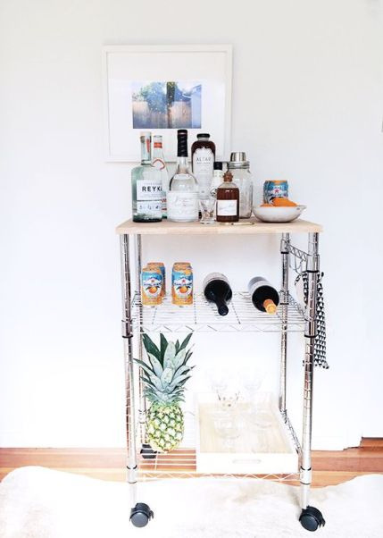 bar cart with pinapple