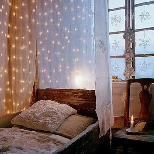 string lights around bed