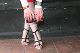 Zara clutch, New Look shoes and Hermes bracelets