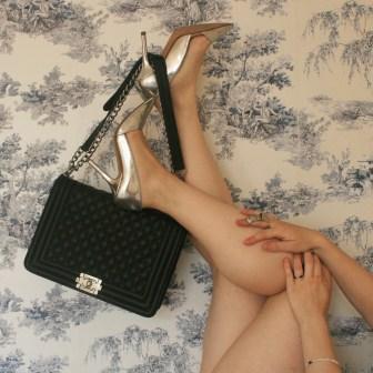 Zara silver court shoes, Chanel Le Boy and Cartier Love bracelet