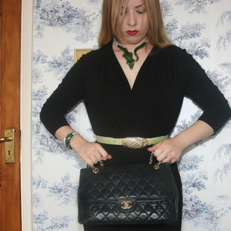 Chanel 2.55 bag, Anna dello Russo for H&M necklace and bracelet and vintage belt