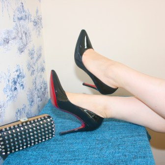 Christian Louboutin Pigalle heels, River Island clutch, H&M Trend socks and Hermes H bangle