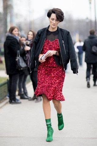 12-paris-haute-couture-spring-2017-street-style-red-sequin-dress-black-jacket-green-sock-boots