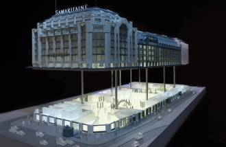 Movable model of the new Samaritaine to be discovered at the project's house in Paris. © Pierre-Olivier Deschamps