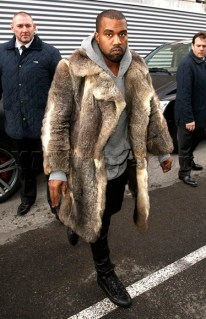 USA, UK and AUSTRALIA ONLY Kanye West was wearing a fur coat when he arrived at the Givenchy Fashion show in Paris, France. Kanye recently fled Los Angeles, where he was involved in a violent encounter with an eighteen year old. January 17, 2014 X17online.com