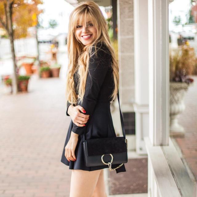 Amanda from fashion to follow blog Seattle blogger wearing a Chloe Faye bag, aritzia top, topshop skirt