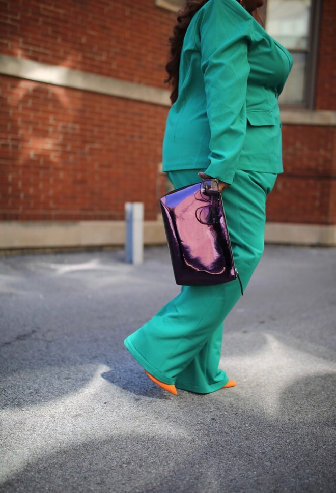 purple purse with orange shoes