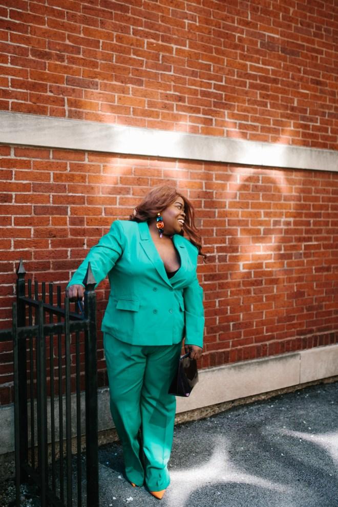 plussize fashion 2 pc green suit