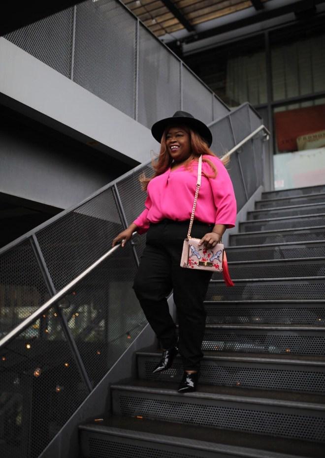TALBOTS, PETITE PLUS, plus petite clothing, pink top, black jeans