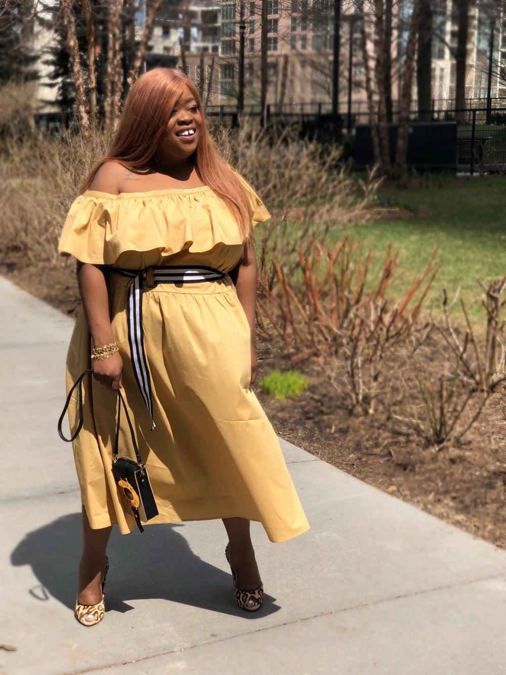 Shoulder Ruffle Midi Dress - Who What Wear Tan - plus size