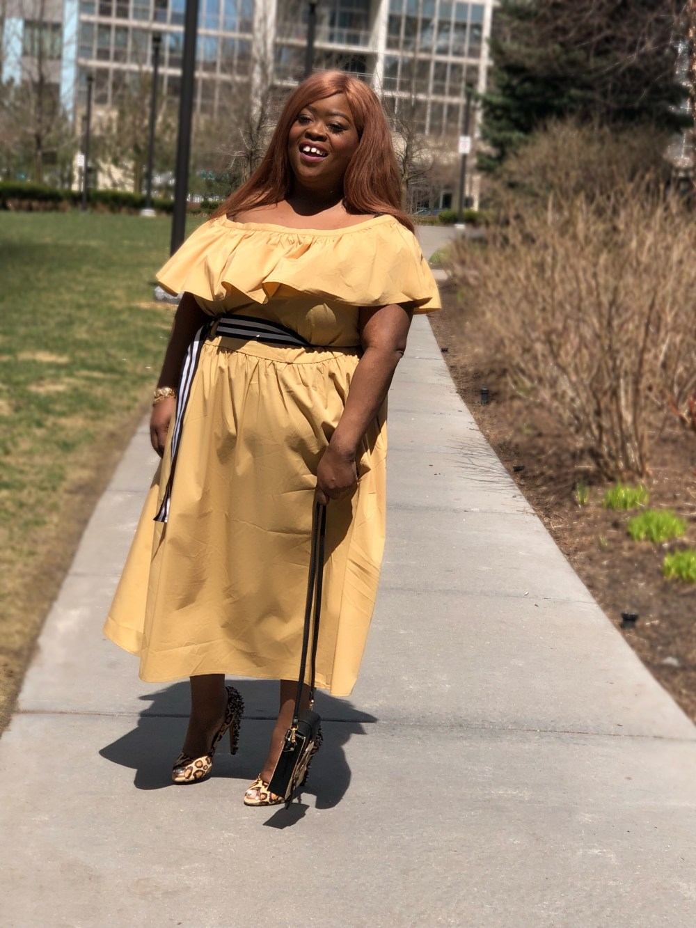 plus size fashion Shoulder Ruffle Midi Dress - Who What Wear Tan - plus size - rivers island - sam eldman - plus size blogger