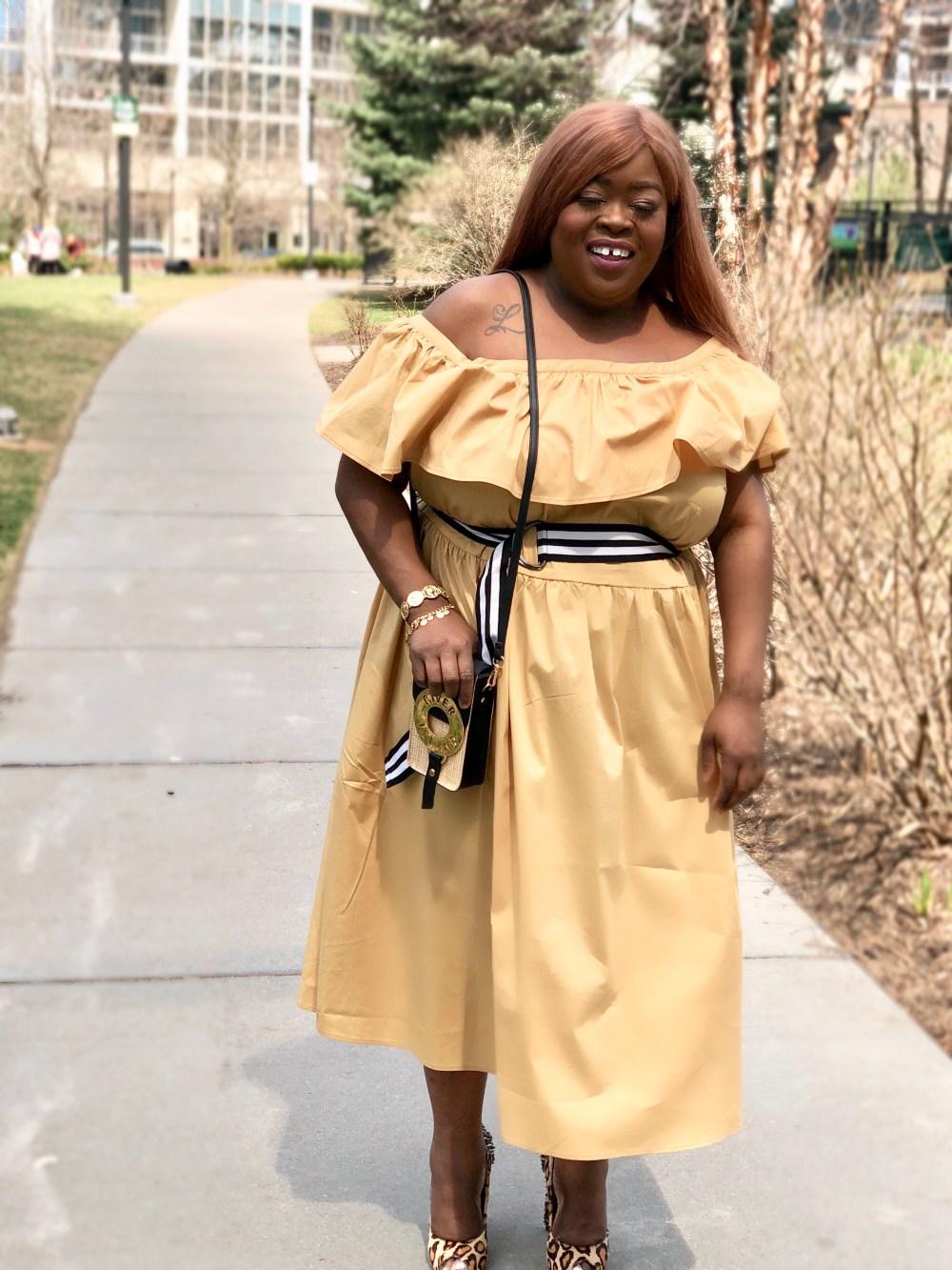 plus size fashion Shoulder Ruffle Midi Dress - Who What Wear Tan - plus size - rivers island - sam eldman