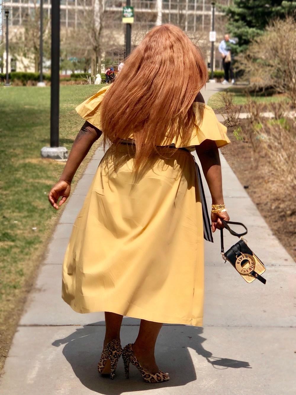 plus size fashion Shoulder Ruffle Midi Dress - Who What Wear Tan - plus size - rivers island - sam eldman - plus size blogger - chicago blogger