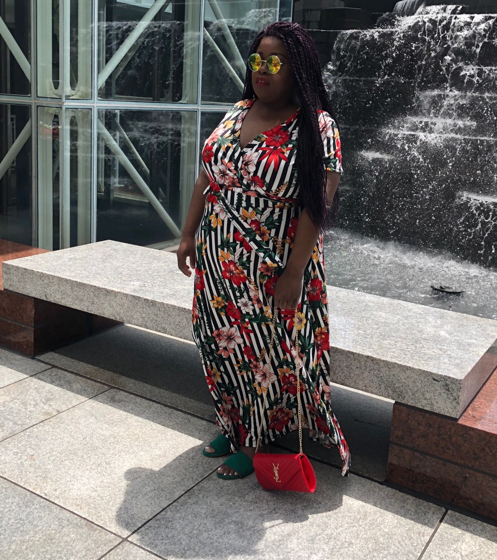 Plus size floral and stripe maxi dress, YSL red clutch, green sandal. Essence Fest, Essence Festival, Eloquii, Essence Of Curves, Essence beauty and Style
