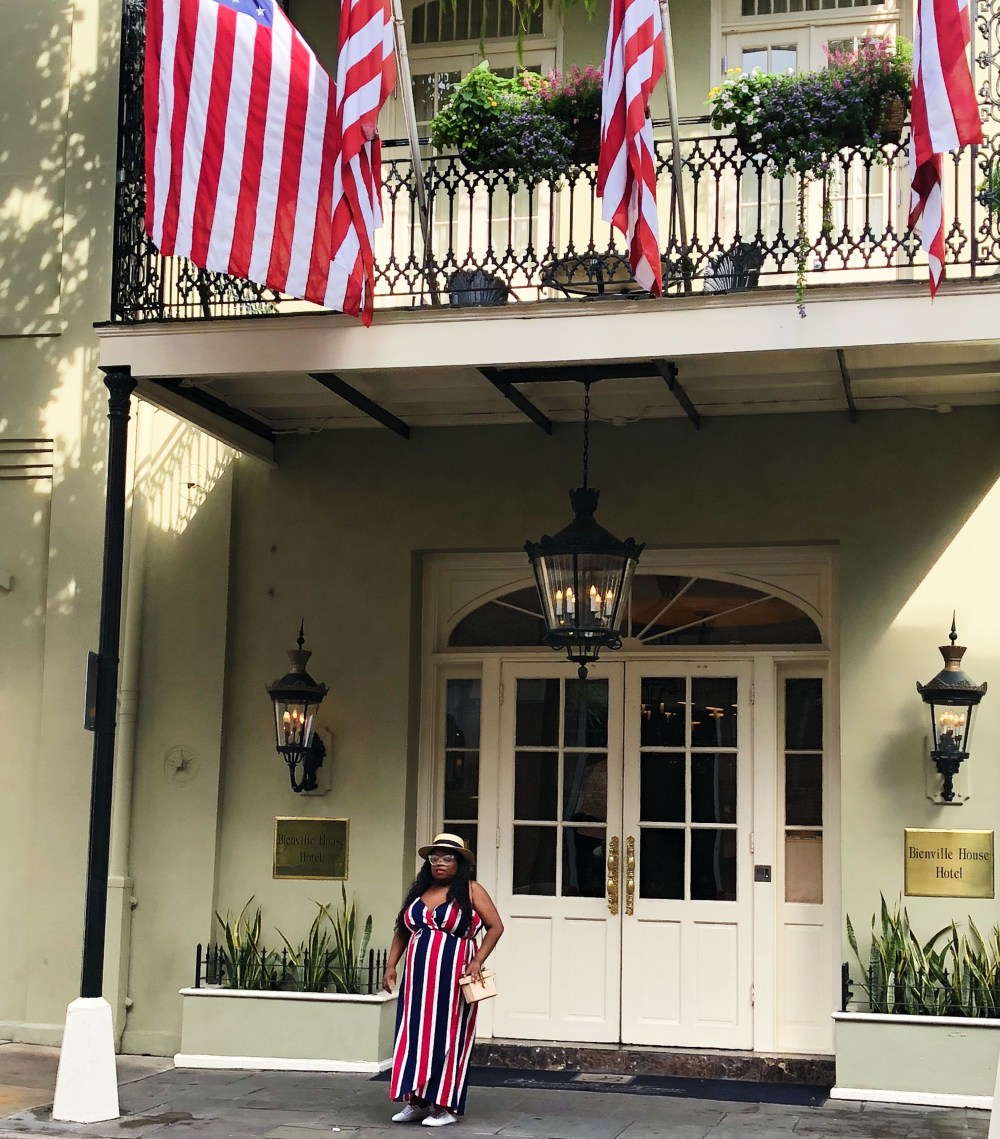 Red, white and blue dress, French Quarters, New Orleans