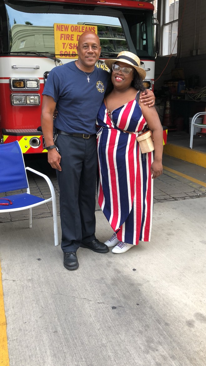 New Orleans fire fighter, Blue Cross Blue Shield bike, drinks in New Orleans, fried chicken, Willie's chicken shack, coca-cola, New Orleans' street car, brittphotosmith.com, Red, white and blue dress, French Quarters, New Orleans