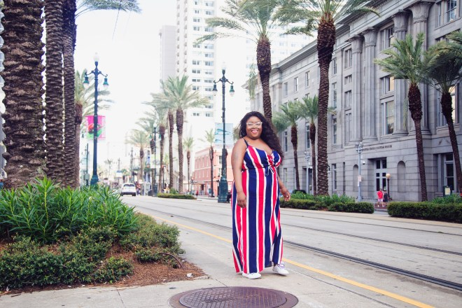 ASOS dress, Superdry sneaker, New Orleans fire fighter, Blue Cross Blue Shield bike, drinks in New Orleans, fried chicken, Willie's chicken shack, coca-cola, New Orleans' street car, brittphotosmith.com, Red, white and blue dress, French Quarters, New Orleans