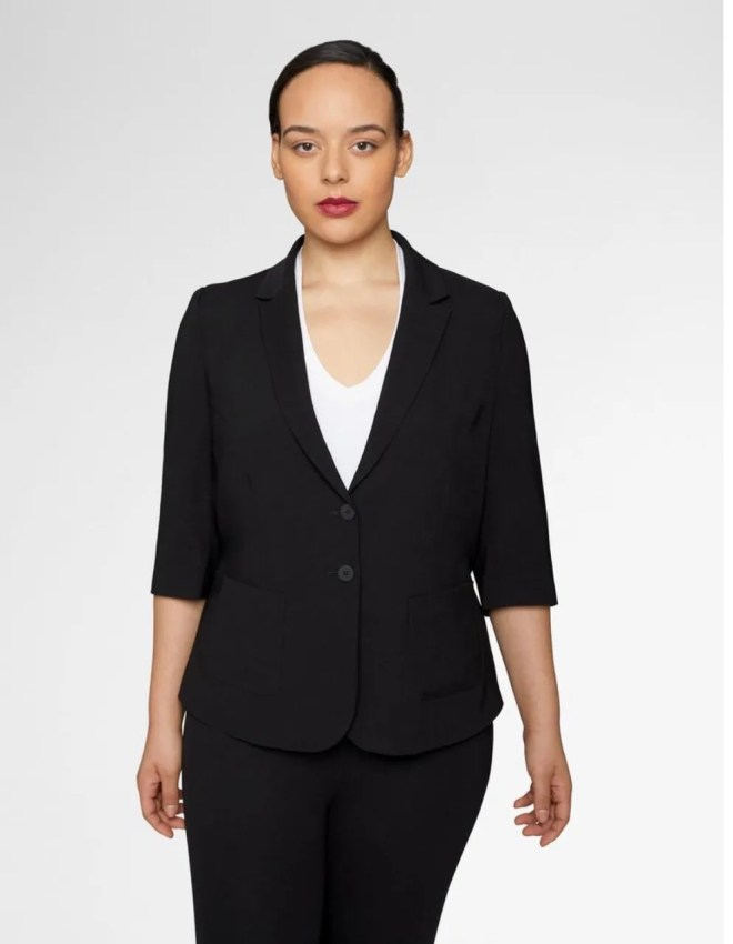 How To Make A Plus Size Black Pant Suit Sexy, universal standard, plus size black blazer