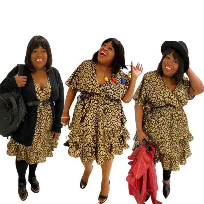 ASHLEY STEWART X KENDALL + KYLIE | CHEETAH DRESS, 1 dress 3 ways plus size