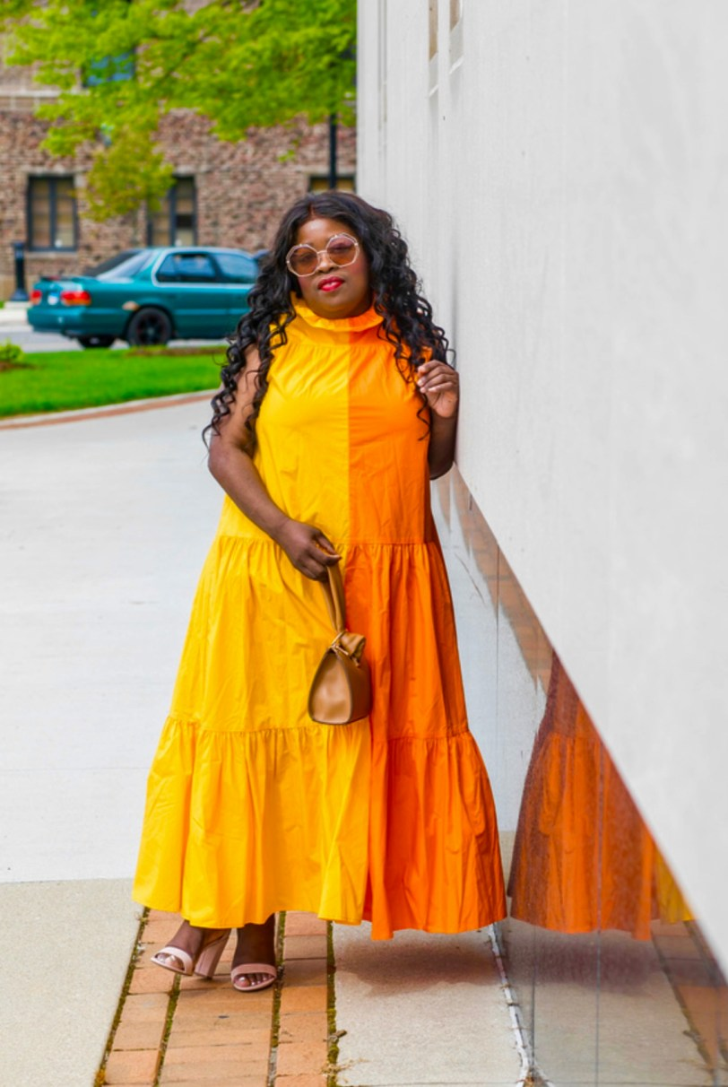 Christopher John Rogers, ALEXIS and RIXO For Target 5 Things I Wish I Knew Christopher John Rogers Sleeveless Ruffle Two-Tone Tiered Dress petite blogger