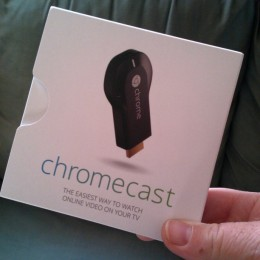 My Chromecast box, fresh from Amazon.
