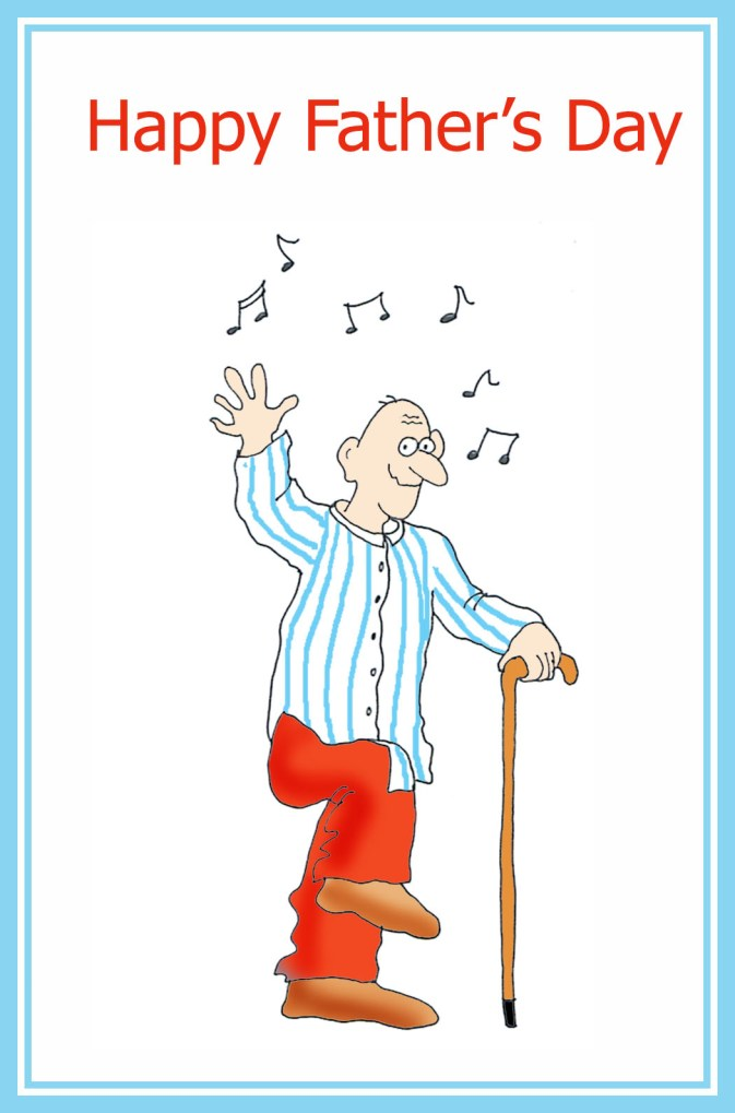 Fathers Day Card Dancing Old Father
