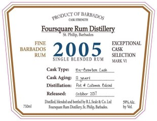 Foursquare 2005 Rum Distillery rum review by the fat rum pirate