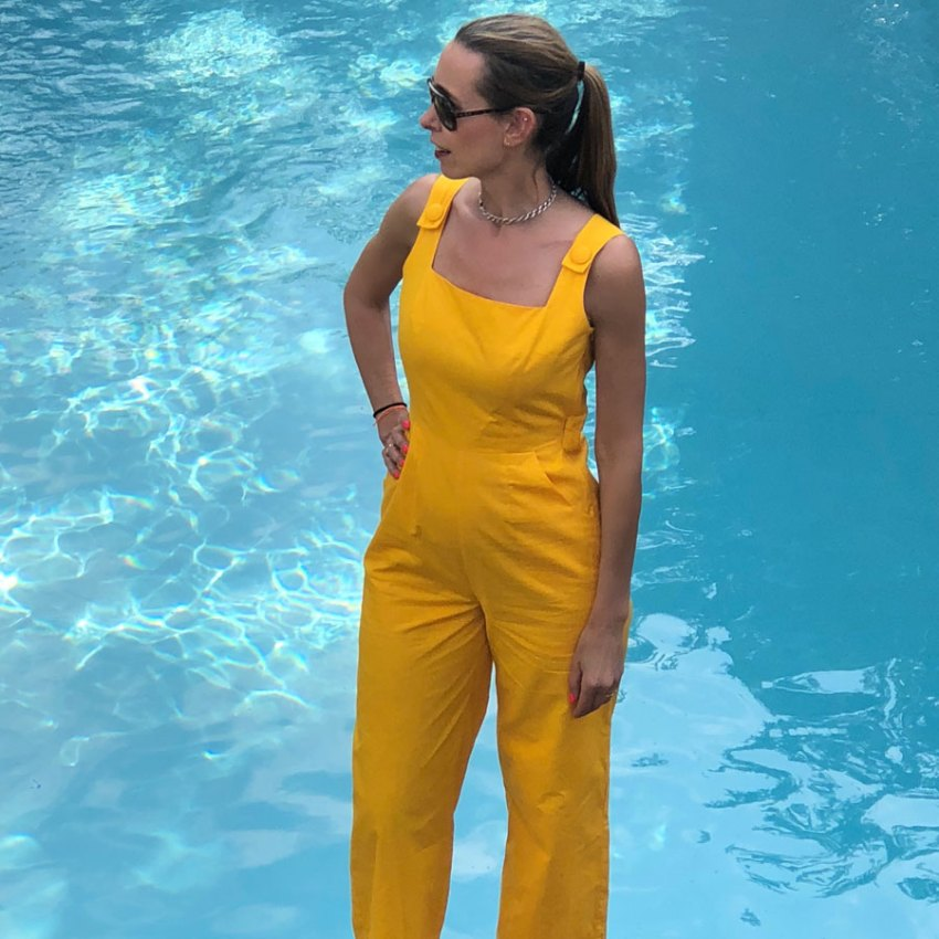 Marie Louise Pumfrey in yellow jumpsuit