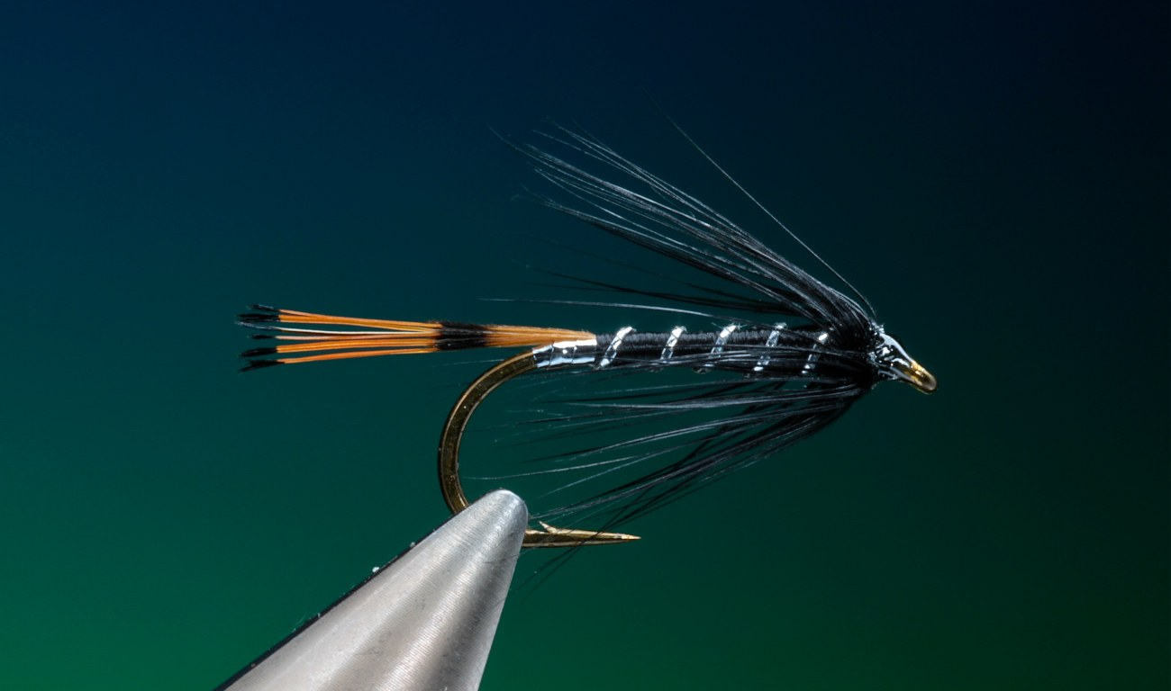 Black Pennell wet fly tied by Barry Ord Clarke